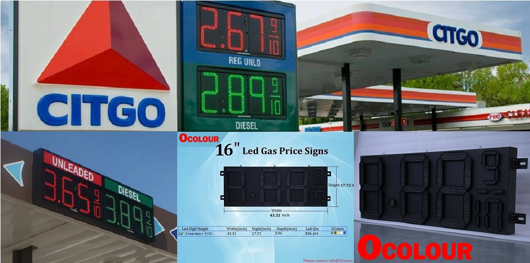 ocolour led gas praice signs in Gas station